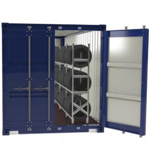 Stelažai padangoms konteineriuose sandėliuoti